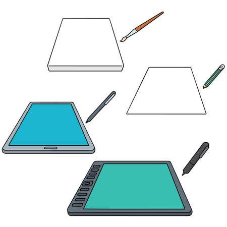 vector set of drawing equipment Illustration