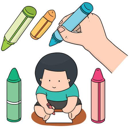vector set of crayon Illusztráció