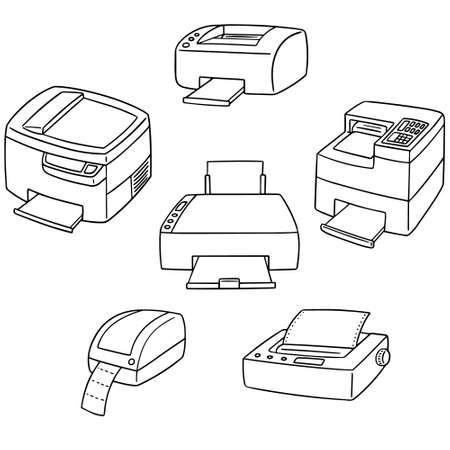 vector set of printer