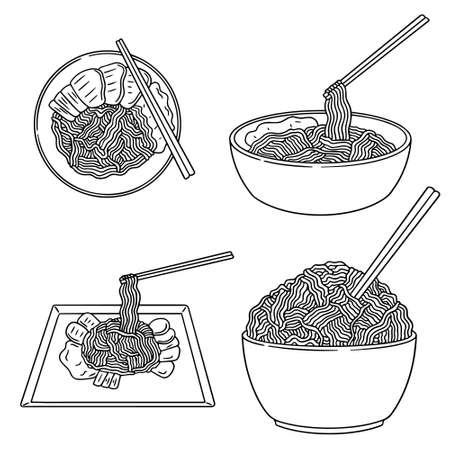 vector set of noodle