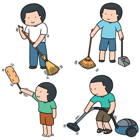 dust pan: vector set of man cleaning Illustration
