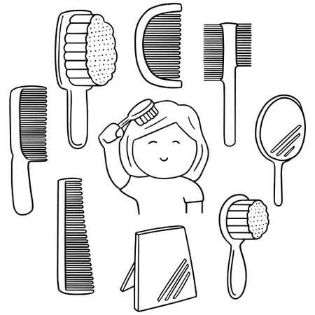 comb: vector set of comb Illustration