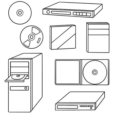dvd player: vector set of cd, dvd, blu-ray player