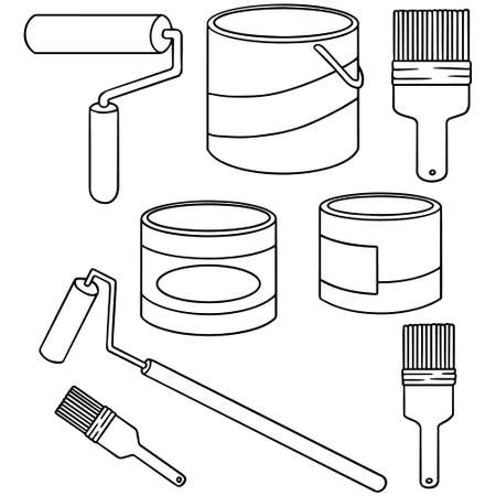 paintbucket: vector set of paint bucket and paint brush