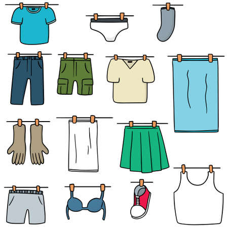 vector set of drying clothes
