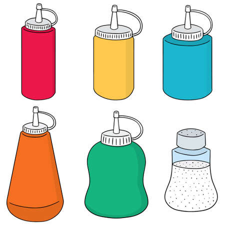 condiment: vector set of condiment bottle Illustration
