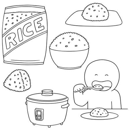 cooked rice: vector set of rice Illustration