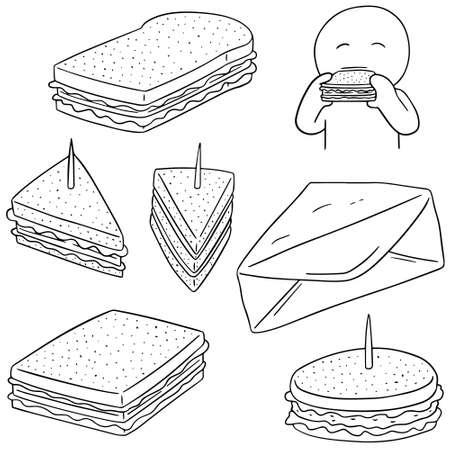 vector set of sandwich Vektorové ilustrace