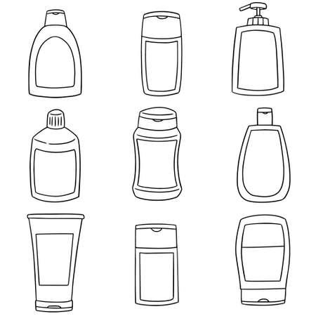 vector conjunto de botella de champú y jabón líquido