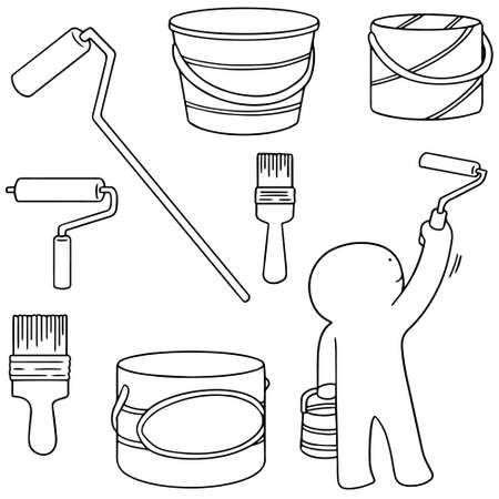 paintbucket: vector set of paint bucket and paint brush