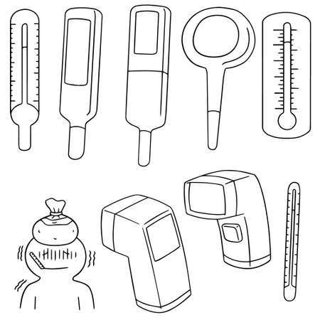 hotter: vector set of thermometer Illustration