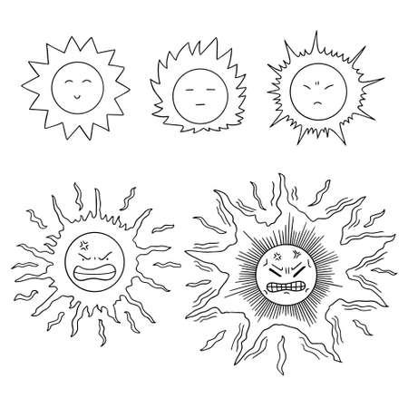 angry sky: vector set of sun