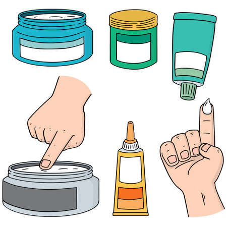 vector set of topical cosmetic and topical medicine