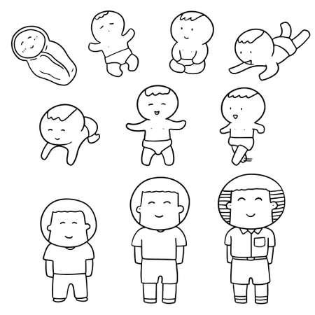 aging process: vector set of children development Illustration