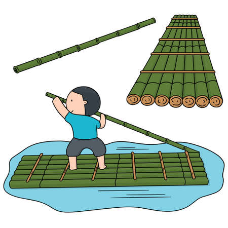 vector set of bamboo raft