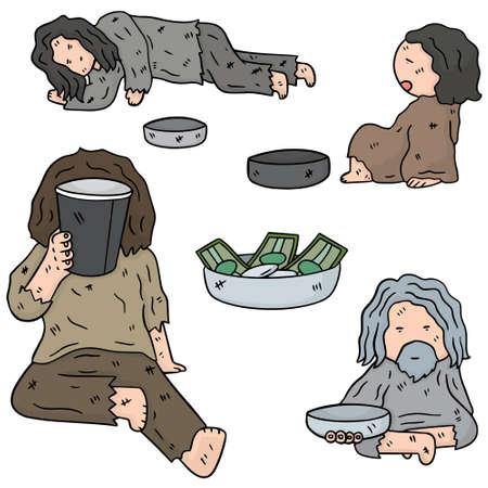 vagabond: vector set of beggar