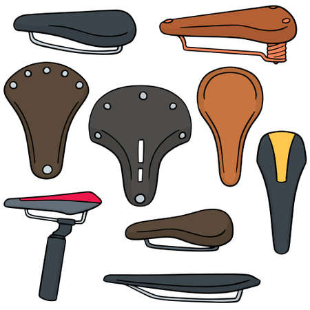 vector set of bicycle saddle