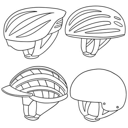 vector set of bicycle helmet