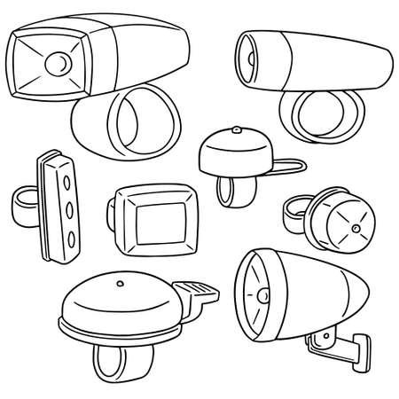 vector set fietslicht en bel