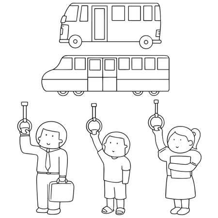 vector set of passenger in public transportation(bus, train) Illustration