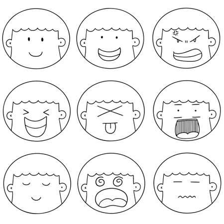 displeased: vector set of cartoon face Illustration