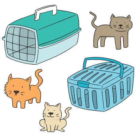 carrier: vector set of cat carrier