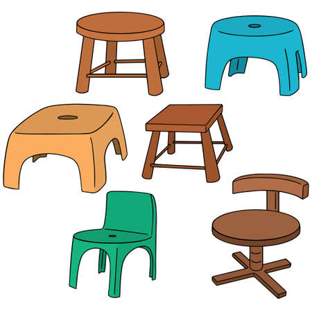 wood chair: vector set of chairs