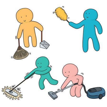 vector set of man cleaning Illustration