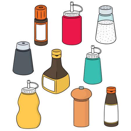 soy sauce: vector set of condiment bottle Illustration