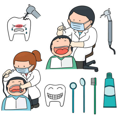 vector set of dentist