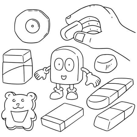 back rub: vector set of eraser