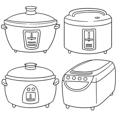 electricals: vector set of rice cooker