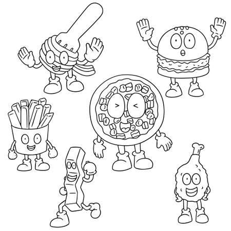 vector set of fastfood cartoon