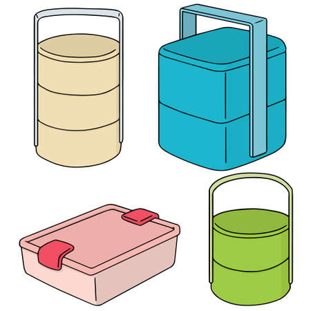 conveniently: vector set of food container