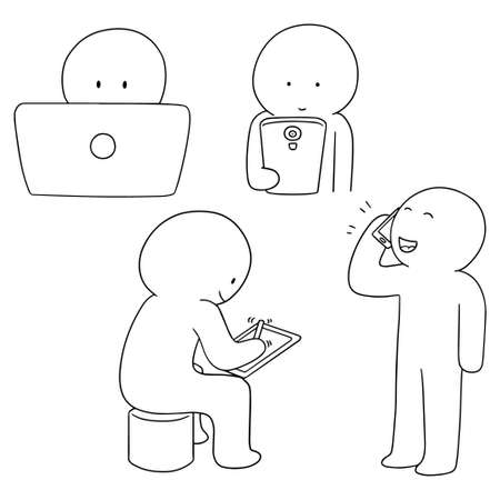 stylus: vector set of smart device addiction Illustration
