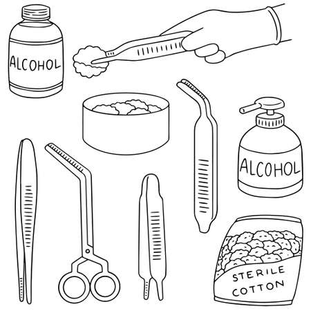 vector set of forcep, alcohol and sterile cotton