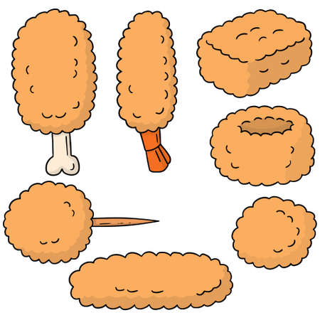 fried food: vector set of fried food