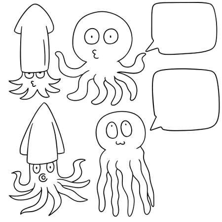 squids: vector set of squids