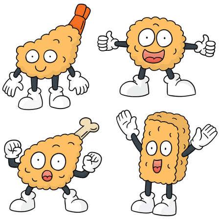 fried shrimp: vector set of fried food cartoon