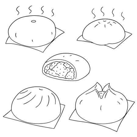 buns: vector set of chinese snack