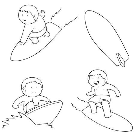 funny surfer: vector set of surfer Illustration