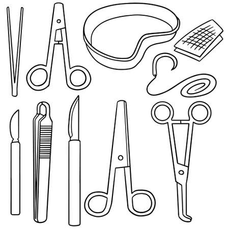 surgical needle: vector set of surgical instrument Illustration