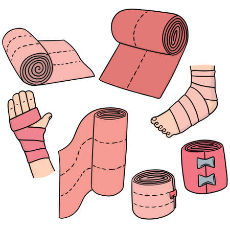 tightened: vector set of medical bandage