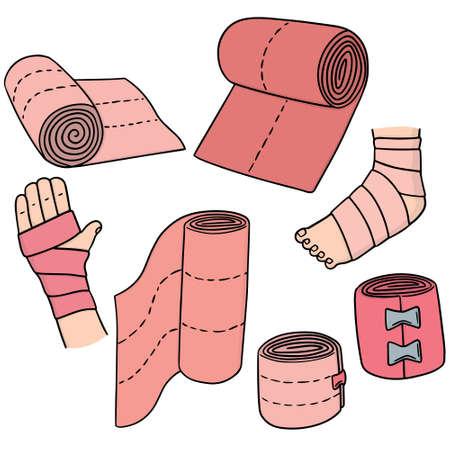 leg bandage: vector set of medical bandage