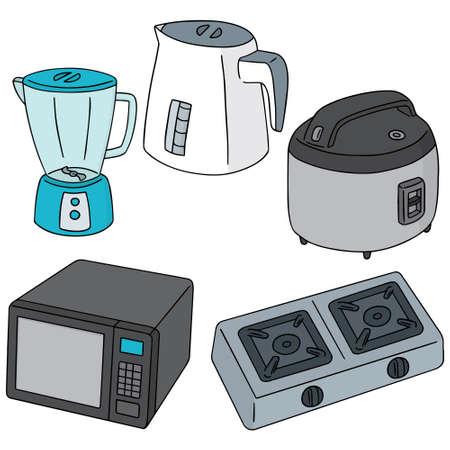 kitchen appliances: vector set of kitchen appliances Illustration