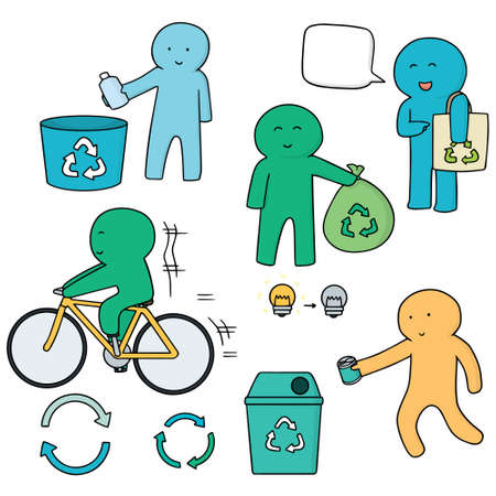 antipollution: vector set of many way to save the earth