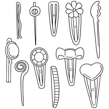 hairclip: vector set of hairpin