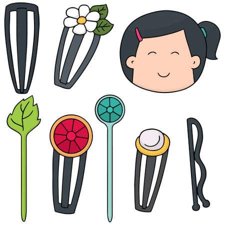 hair pins: vector set of hairpin