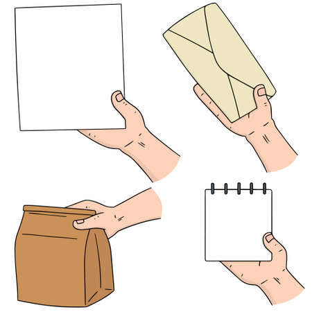 vector set of hand holding paper, envelope, paper bag and notebook