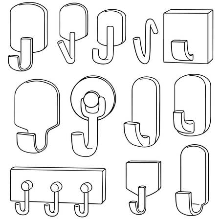 clothes organizer: vector set of wall hooks Illustration
